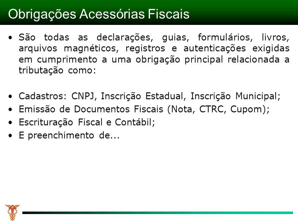 Obrigações Acessórias Fiscais São todas as declarações, guias, formulários, livros, arquivos magnéticos, registros e autenticações exigidas em cumprim