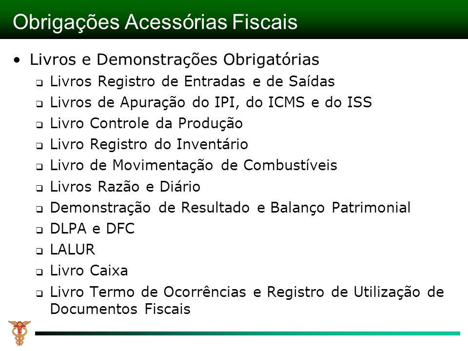 Obrigações Acessórias Fiscais Livros e Demonstrações Obrigatórias Livros Registro de Entradas e de Saídas Livros de Apuração do IPI, do ICMS e do ISS
