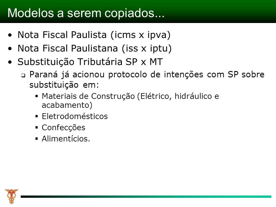 Modelos a serem copiados... Nota Fiscal Paulista (icms x ipva) Nota Fiscal Paulistana (iss x iptu) Substituição Tributária SP x MT Paraná já acionou p