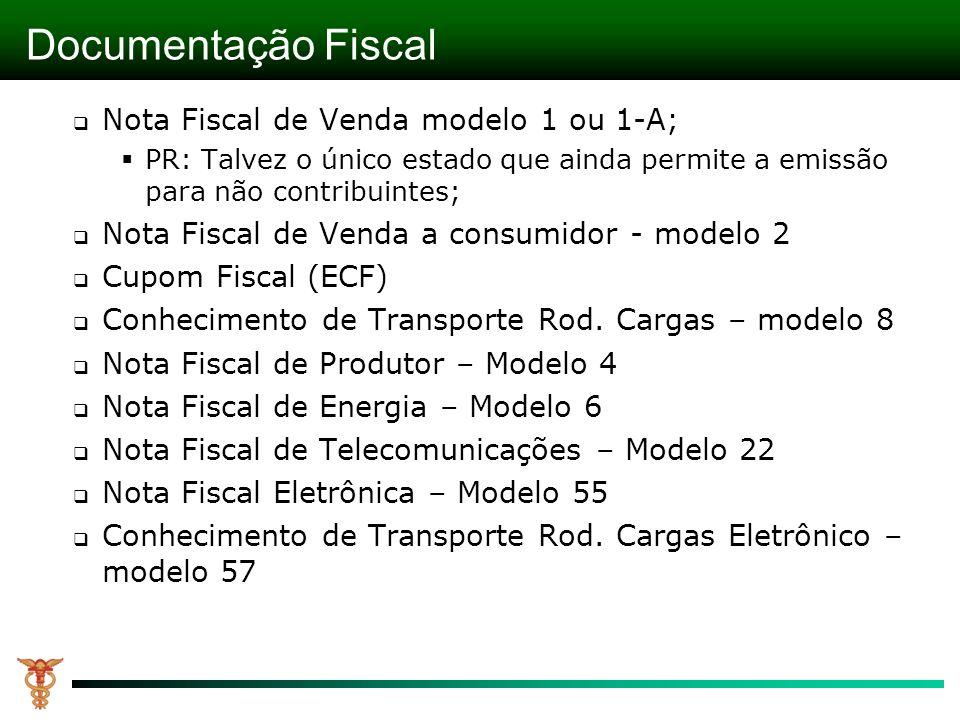 Documentação Fiscal Nota Fiscal de Venda modelo 1 ou 1-A; PR: Talvez o único estado que ainda permite a emissão para não contribuintes; Nota Fiscal de Venda a consumidor - modelo 2 Cupom Fiscal (ECF) Conhecimento de Transporte Rod.