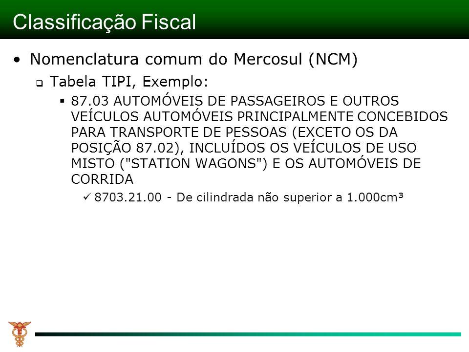 Classificação Fiscal Nomenclatura comum do Mercosul (NCM) Tabela TIPI, Exemplo: 87.03 AUTOMÓVEIS DE PASSAGEIROS E OUTROS VEÍCULOS AUTOMÓVEIS PRINCIPALMENTE CONCEBIDOS PARA TRANSPORTE DE PESSOAS (EXCETO OS DA POSIÇÃO 87.02), INCLUÍDOS OS VEÍCULOS DE USO MISTO ( STATION WAGONS ) E OS AUTOMÓVEIS DE CORRIDA 8703.21.00 - De cilindrada não superior a 1.000cm³