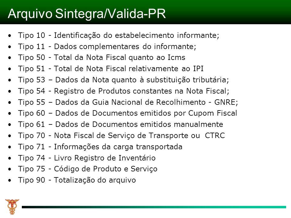 Arquivo Sintegra/Valida-PR Tipo 10 - Identificação do estabelecimento informante; Tipo 11 - Dados complementares do informante; Tipo 50 - Total da Not
