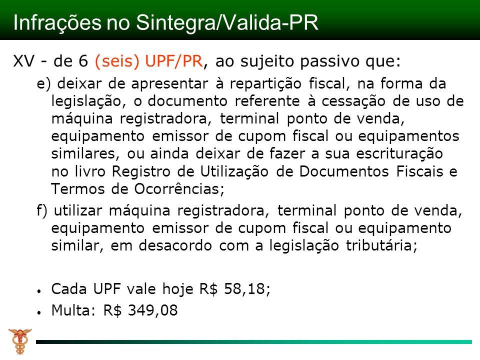 Infrações no Sintegra/Valida-PR XV - de 6 (seis) UPF/PR, ao sujeito passivo que: e) deixar de apresentar à repartição fiscal, na forma da legislação,