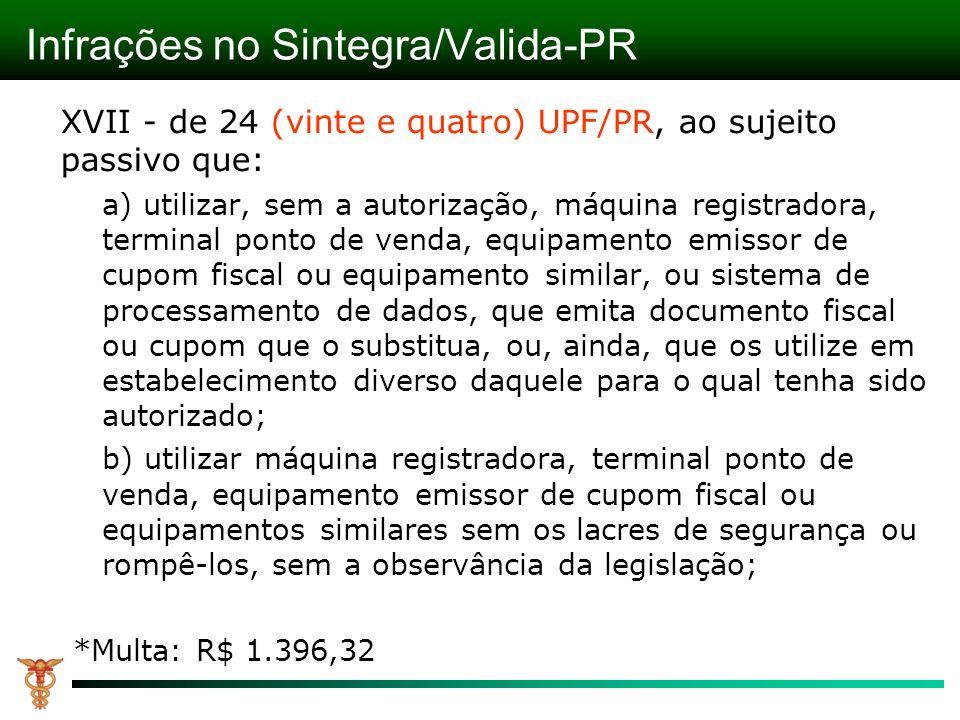 Infrações no Sintegra/Valida-PR XVII - de 24 (vinte e quatro) UPF/PR, ao sujeito passivo que: a) utilizar, sem a autorização, máquina registradora, te