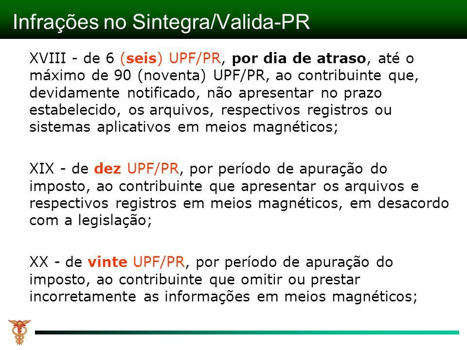 Infrações no Sintegra/Valida-PR XVIII - de 6 (seis) UPF/PR, por dia de atraso, até o máximo de 90 (noventa) UPF/PR, ao contribuinte que, devidamente notificado, não apresentar no prazo estabelecido, os arquivos, respectivos registros ou sistemas aplicativos em meios magnéticos; XIX - de dez UPF/PR, por período de apuração do imposto, ao contribuinte que apresentar os arquivos e respectivos registros em meios magnéticos, em desacordo com a legislação; XX - de vinte UPF/PR, por período de apuração do imposto, ao contribuinte que omitir ou prestar incorretamente as informações em meios magnéticos;