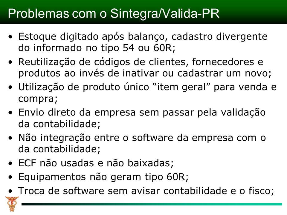 Problemas com o Sintegra/Valida-PR Estoque digitado após balanço, cadastro divergente do informado no tipo 54 ou 60R; Reutilização de códigos de clien