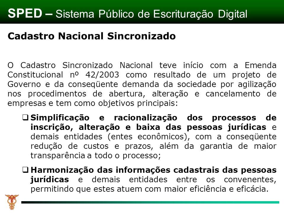 Cadastro Nacional Sincronizado O Cadastro Sincronizado Nacional teve início com a Emenda Constitucional nº 42/2003 como resultado de um projeto de Gov
