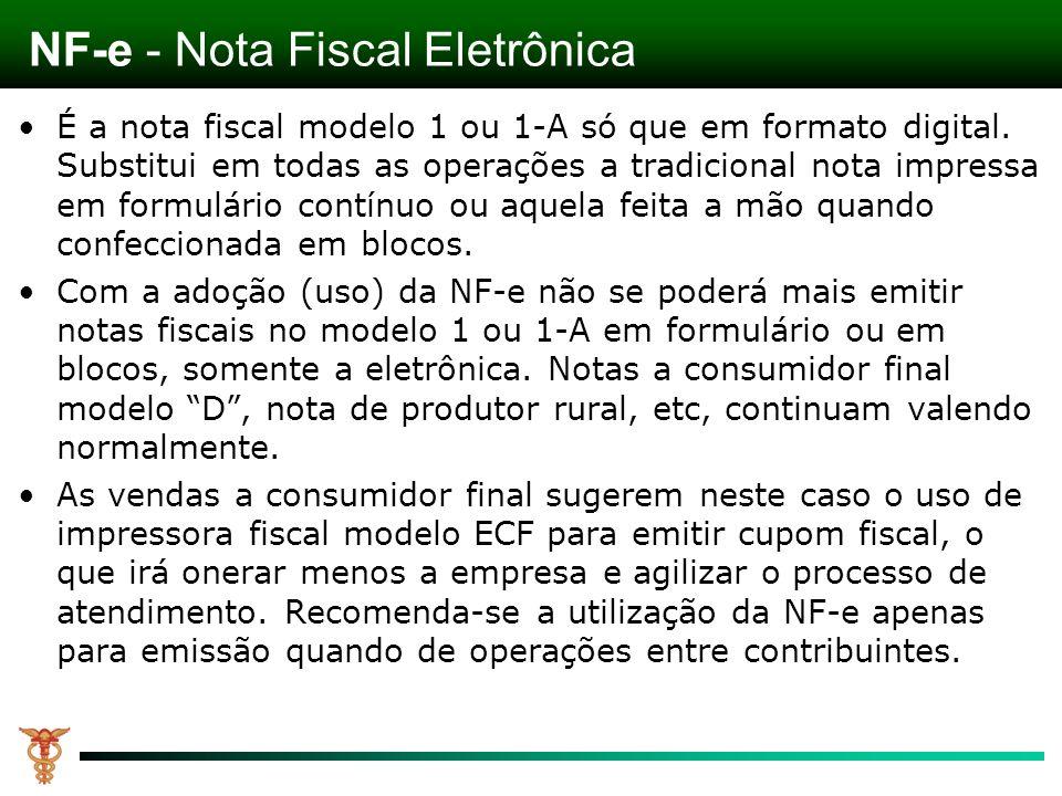 É a nota fiscal modelo 1 ou 1-A só que em formato digital. Substitui em todas as operações a tradicional nota impressa em formulário contínuo ou aquel