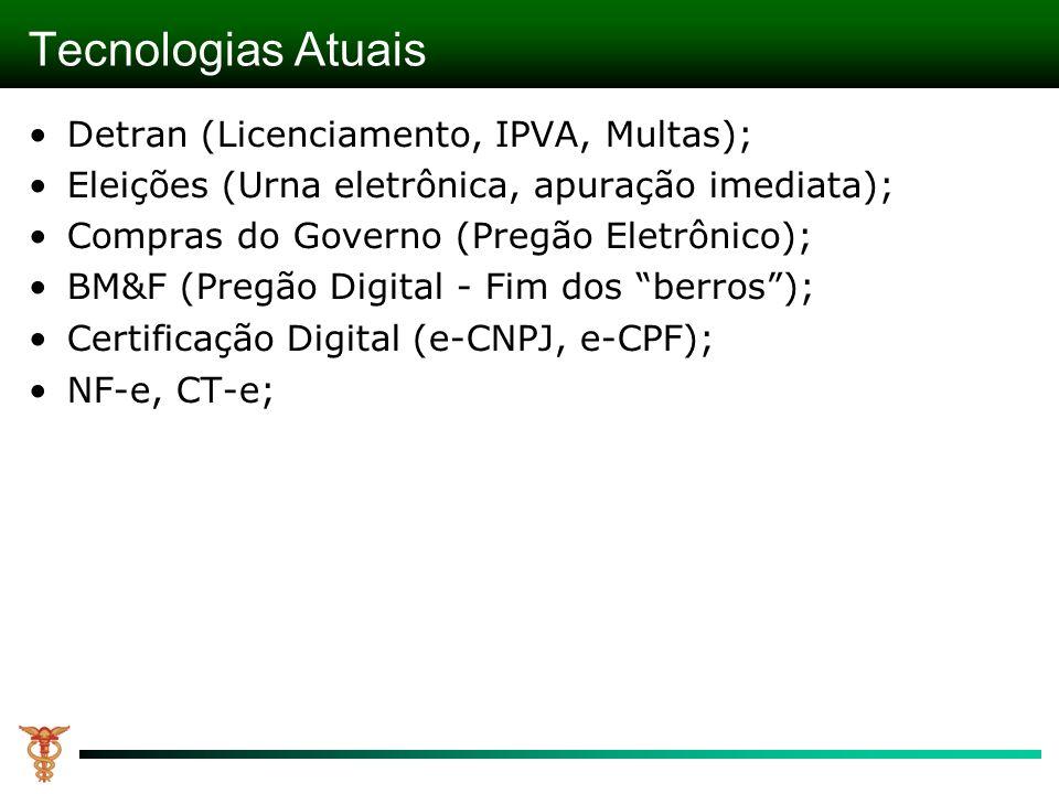 Tecnologias Atuais Detran (Licenciamento, IPVA, Multas); Eleições (Urna eletrônica, apuração imediata) ; Compras do Governo (Pregão Eletrônico) ; BM&F (Pregão Digital - Fim dos berros) ; Certificação Digital (e-CNPJ, e-CPF) ; NF-e, CT-e;