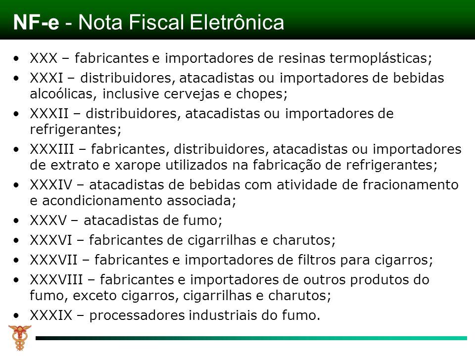 NF-e - Nota Fiscal Eletrônica XXX – fabricantes e importadores de resinas termoplásticas; XXXI – distribuidores, atacadistas ou importadores de bebida