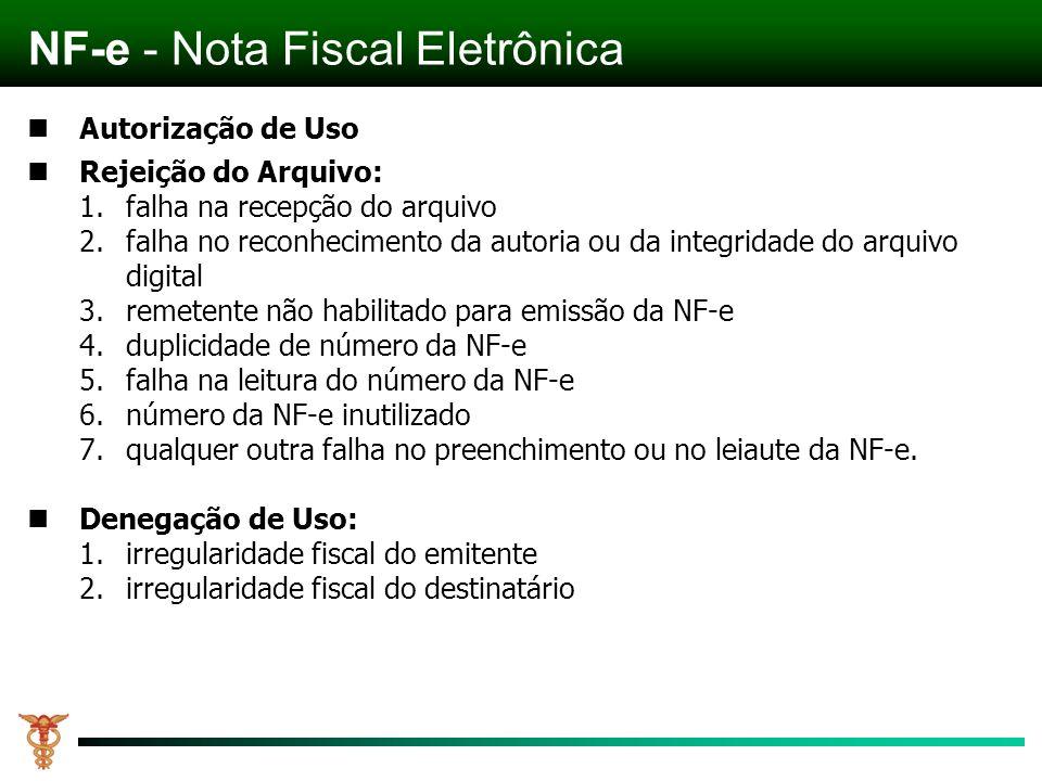 Autorização de Uso Rejeição do Arquivo: 1.falha na recepção do arquivo 2.falha no reconhecimento da autoria ou da integridade do arquivo digital 3.remetente não habilitado para emissão da NF-e 4.duplicidade de número da NF-e 5.falha na leitura do número da NF-e 6.número da NF-e inutilizado 7.qualquer outra falha no preenchimento ou no leiaute da NF-e.
