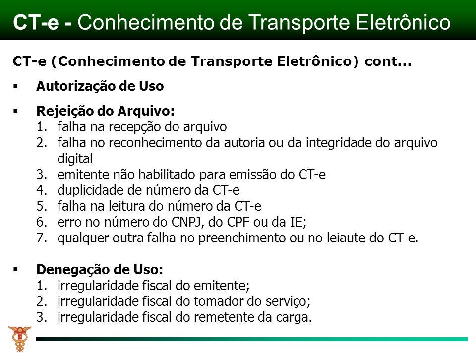 CT-e (Conhecimento de Transporte Eletrônico) cont... Autorização de Uso Rejeição do Arquivo: 1.falha na recepção do arquivo 2.falha no reconhecimento