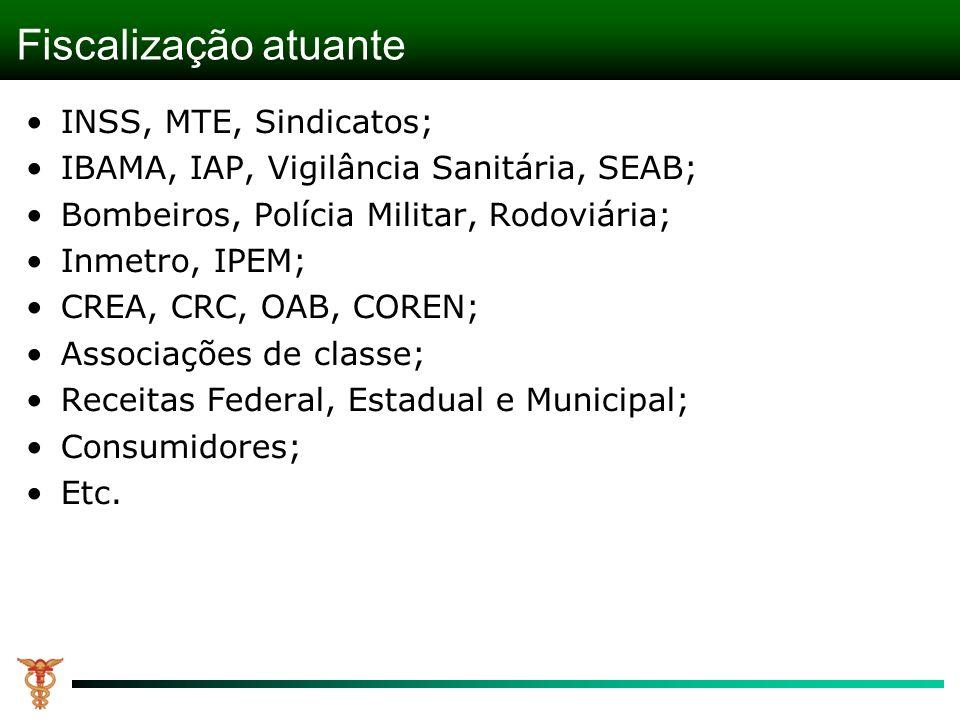 Fiscalização atuante INSS, MTE, Sindicatos; IBAMA, IAP, Vigilância Sanitária, SEAB; Bombeiros, Polícia Militar, Rodoviária; Inmetro, IPEM; CREA, CRC,