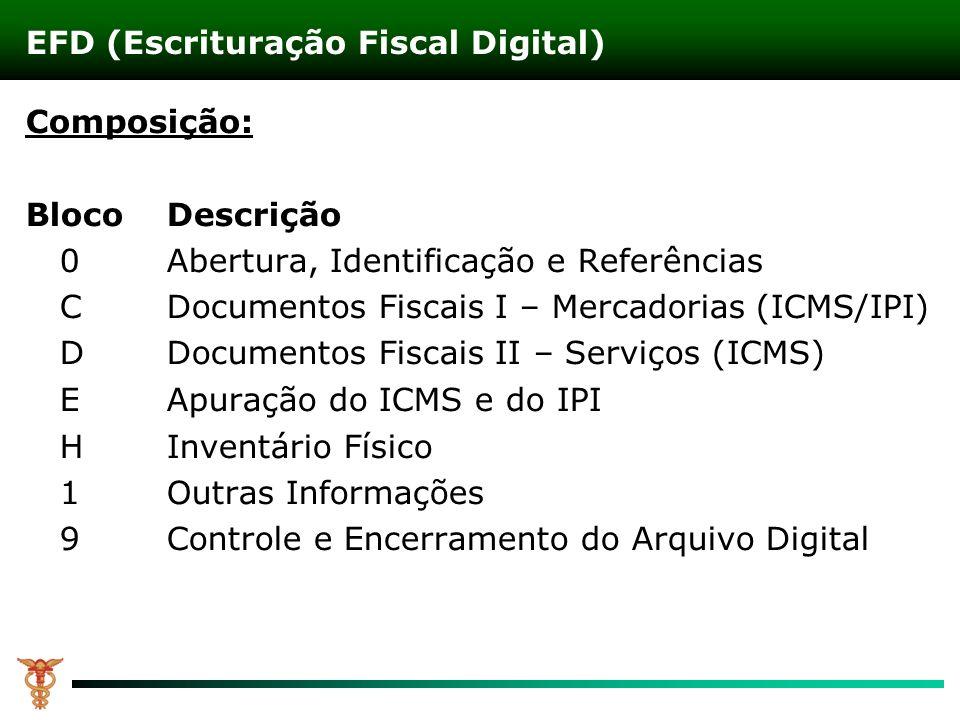 Composição: Bloco Descrição 0 Abertura, Identificação e Referências CDocumentos Fiscais I – Mercadorias (ICMS/IPI) DDocumentos Fiscais II – Serviços (ICMS) EApuração do ICMS e do IPI HInventário Físico 1Outras Informações 9Controle e Encerramento do Arquivo Digital EFD (Escrituração Fiscal Digital)
