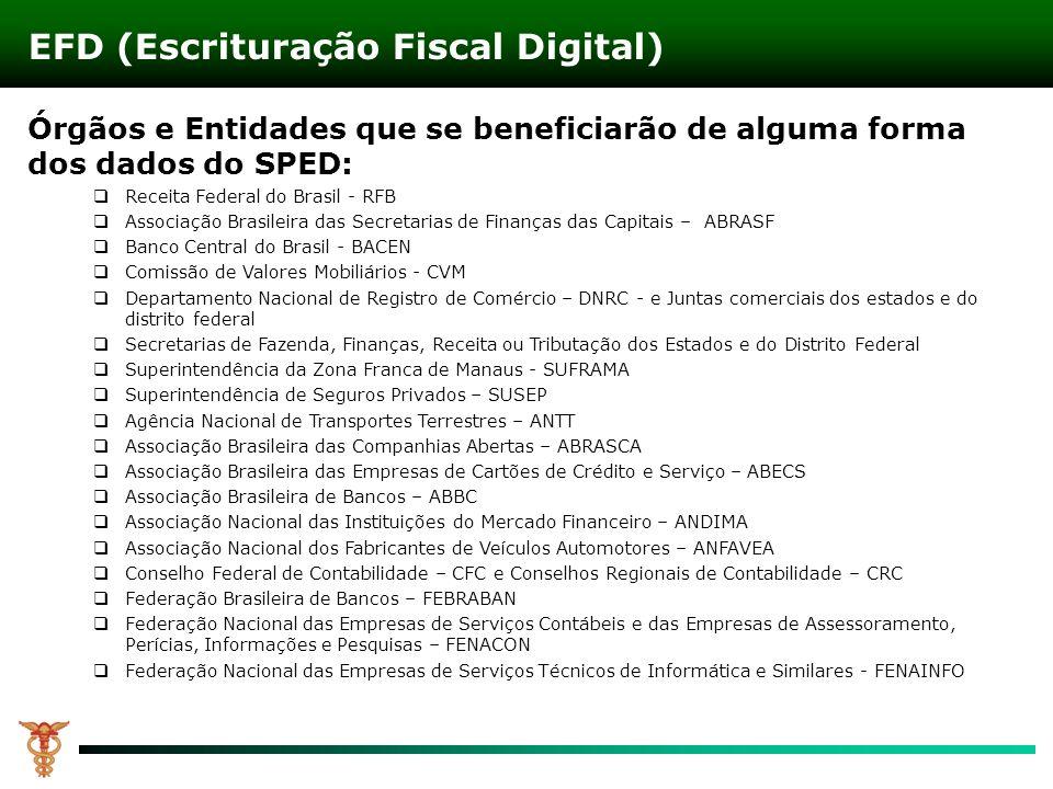 Órgãos e Entidades que se beneficiarão de alguma forma dos dados do SPED: Receita Federal do Brasil - RFB Associação Brasileira das Secretarias de Fin