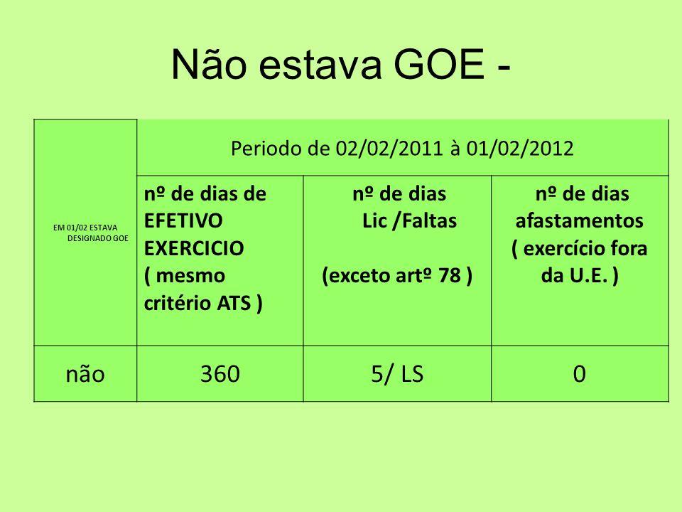 Não estava GOE - EM 01/02 ESTAVA DESIGNADO GOE Periodo de 02/02/2011 à 01/02/2012 nº de dias de EFETIVO EXERCICIO ( mesmo critério ATS ) nº de dias Lic /Faltas (exceto artº 78 ) nº de dias afastamentos ( exercício fora da U.E.