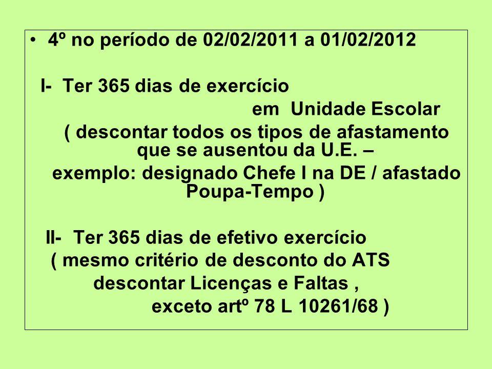 4º no período de 02/02/2011 a 01/02/2012 I- Ter 365 dias de exercício em Unidade Escolar ( descontar todos os tipos de afastamento que se ausentou da