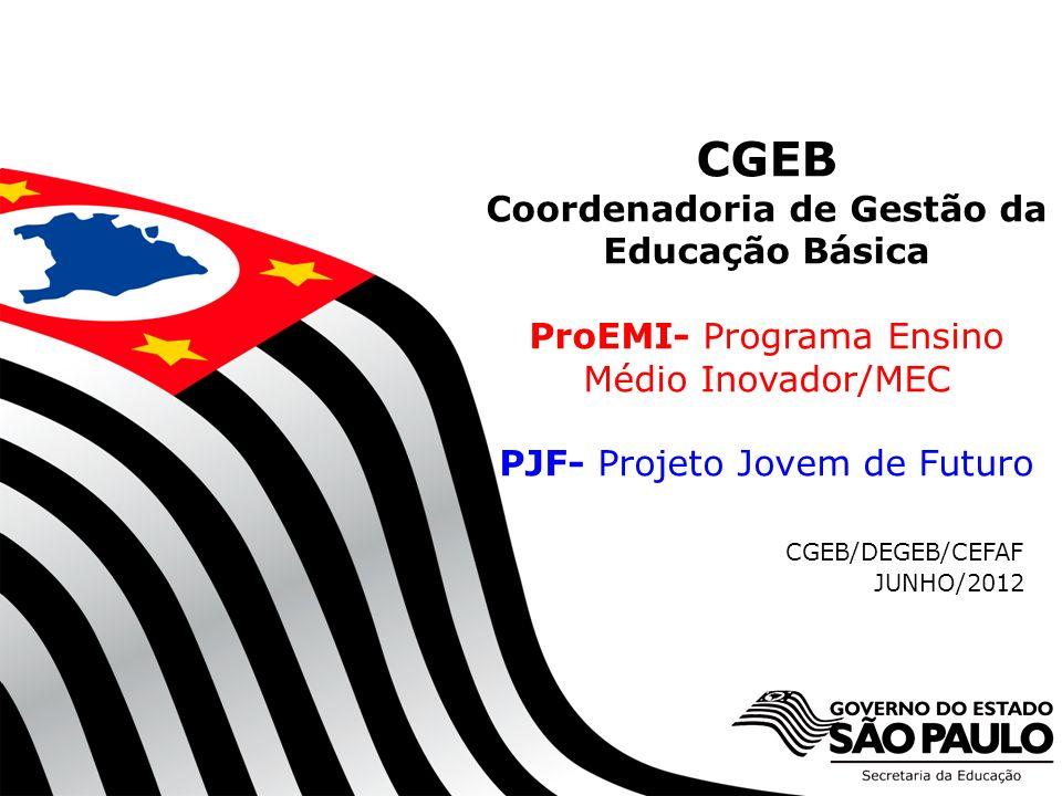SECRETARIA DA EDUCAÇÃO Coordenadoria de Gestão da Educação Básica CGEB Coordenadoria de Gestão da Educação Básica ProEMI- Programa Ensino Médio Inovad