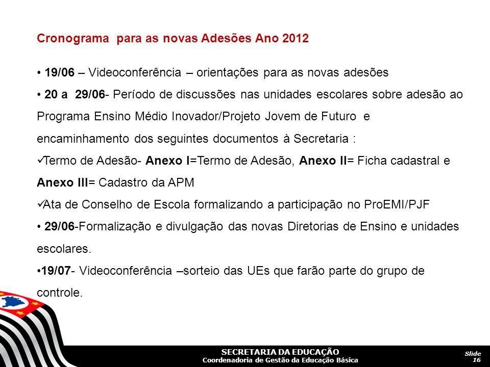 SECRETARIA DA EDUCAÇÃO Coordenadoria de Gestão da Educação Básica Slide 16 Cronograma para as novas Adesões Ano 2012 19/06 – Videoconferência – orient