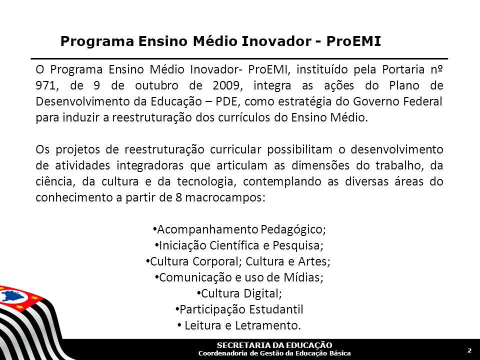 SECRETARIA DA EDUCAÇÃO Coordenadoria de Gestão da Educação Básica Programa Ensino Médio Inovador - ProEMI 2 O Programa Ensino Médio Inovador- ProEMI,