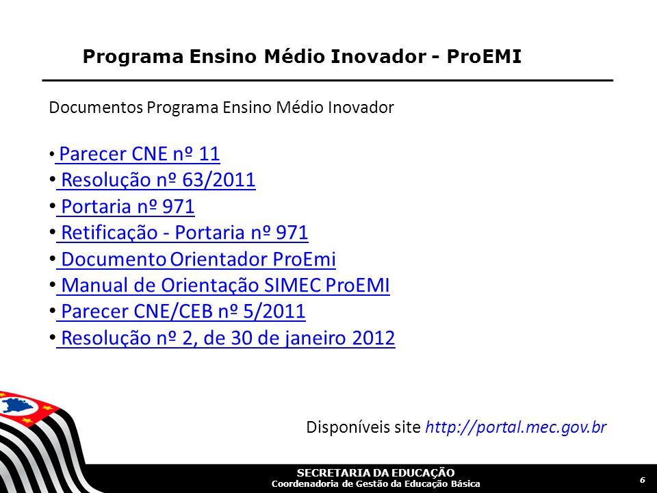 SECRETARIA DA EDUCAÇÃO Coordenadoria de Gestão da Educação Básica Programa Ensino Médio Inovador - ProEMI 6 Documentos Programa Ensino Médio Inovador