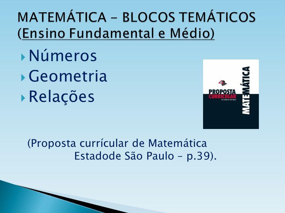MATEMÁTICA - BLOCOS TEMÁTICOS (Ensino Fundamental e Médio) Números Geometria Relações (Proposta currícular de Matemática Estadode São Paulo – p.39).