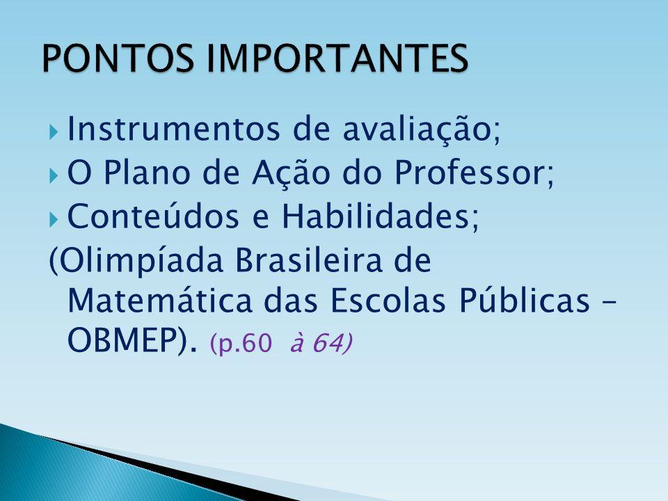 PONTOS IMPORTANTES Instrumentos de avaliação; O Plano de Ação do Professor; Conteúdos e Habilidades; (Olimpíada Brasileira de Matemática das Escolas P