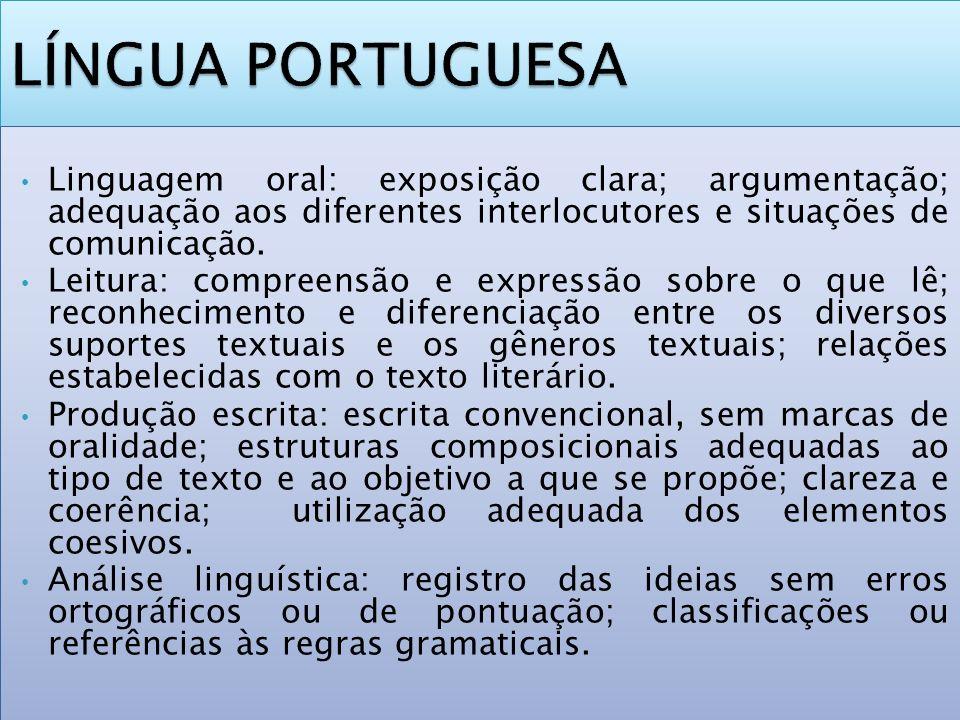 Linguagem oral: exposição clara; argumentação; adequação aos diferentes interlocutores e situações de comunicação. Leitura: compreensão e expressão so