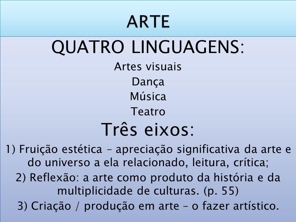 QUATRO LINGUAGENS: Artes visuais Dança Música Teatro Três eixos: 1) Fruição estética – apreciação significativa da arte e do universo a ela relacionad