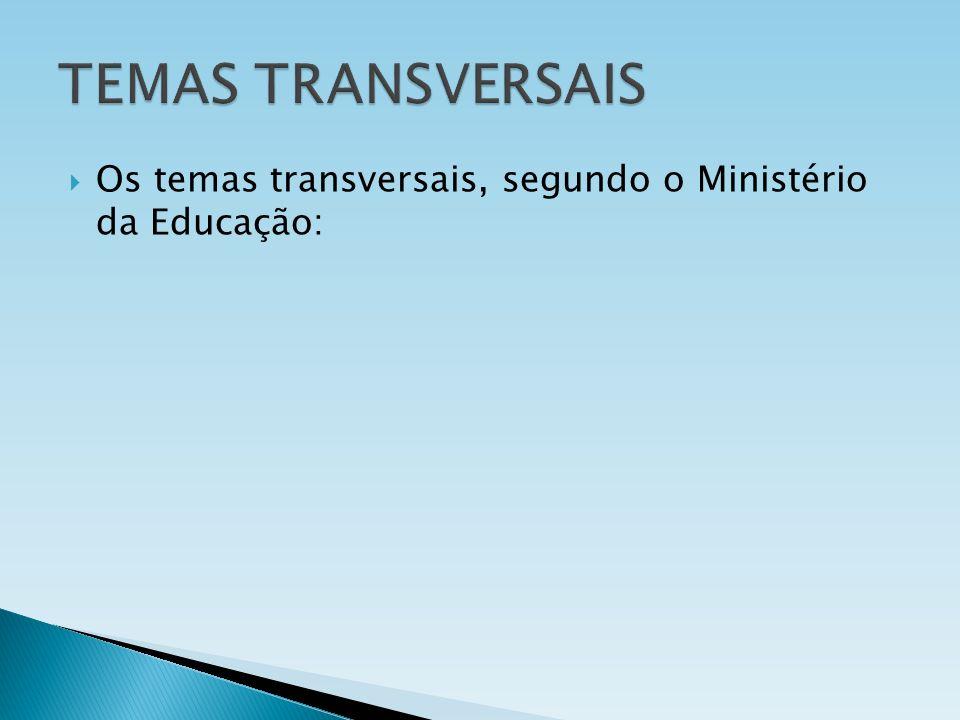 Os temas transversais, segundo o Ministério da Educação: