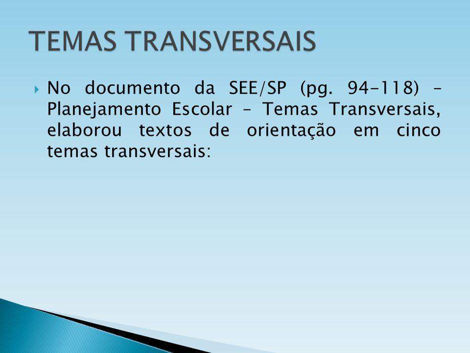 No documento da SEE/SP (pg. 94-118) – Planejamento Escolar – Temas Transversais, elaborou textos de orientação em cinco temas transversais: