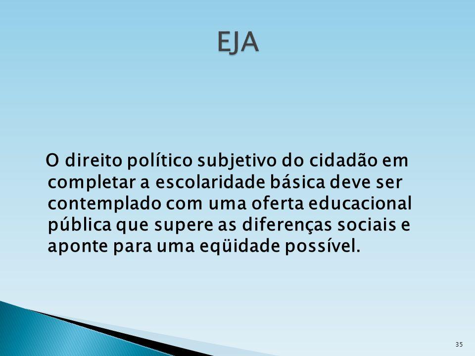O direito político subjetivo do cidadão em completar a escolaridade básica deve ser contemplado com uma oferta educacional pública que supere as difer