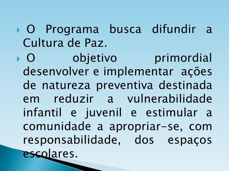 O Programa busca difundir a Cultura de Paz. O objetivo primordial desenvolver e implementar ações de natureza preventiva destinada em reduzir a vulner