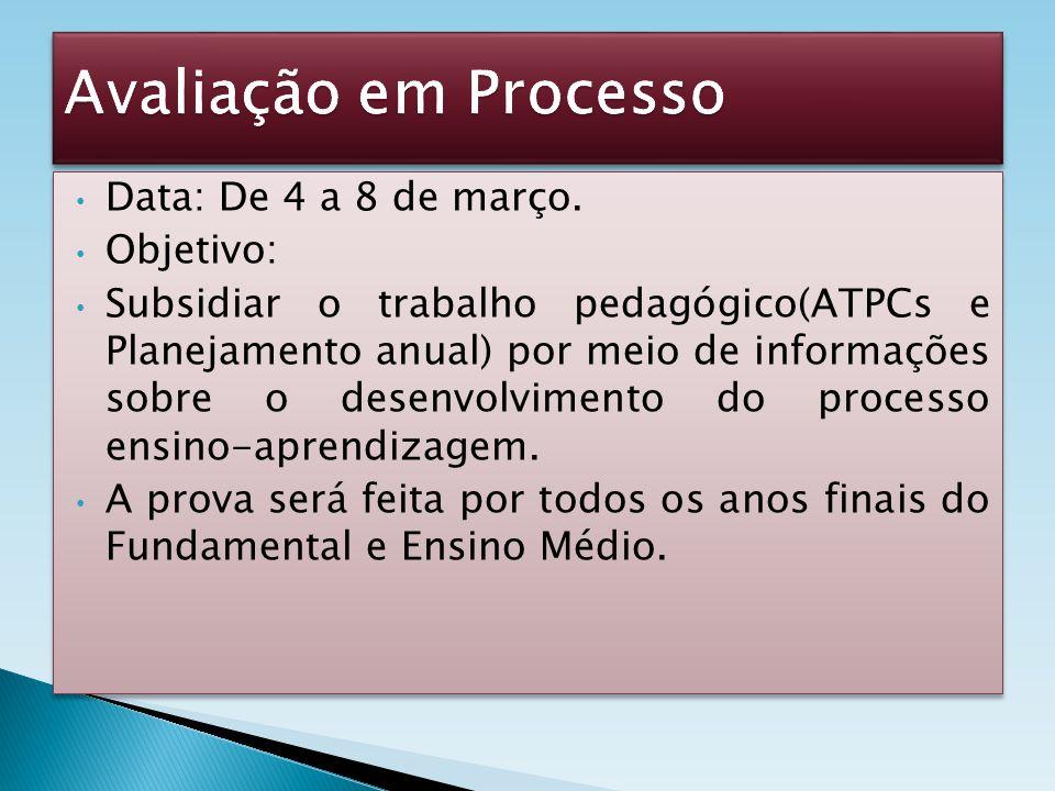Data: De 4 a 8 de março. Objetivo: Subsidiar o trabalho pedagógico(ATPCs e Planejamento anual) por meio de informações sobre o desenvolvimento do proc