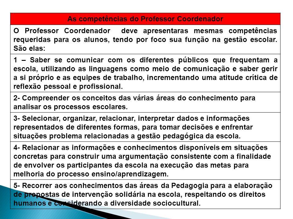 As competências do Professor Coordenador O Professor Coordenador deve apresentaras mesmas competências requeridas para os alunos, tendo por foco sua f