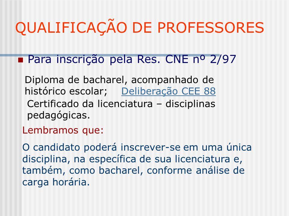 QUALIFICAÇÃO DE PROFESSORES Para inscrição pela Res. CNE nº 2/97 Diploma de bacharel, acompanhado de histórico escolar; Deliberação CEE 88Deliberação