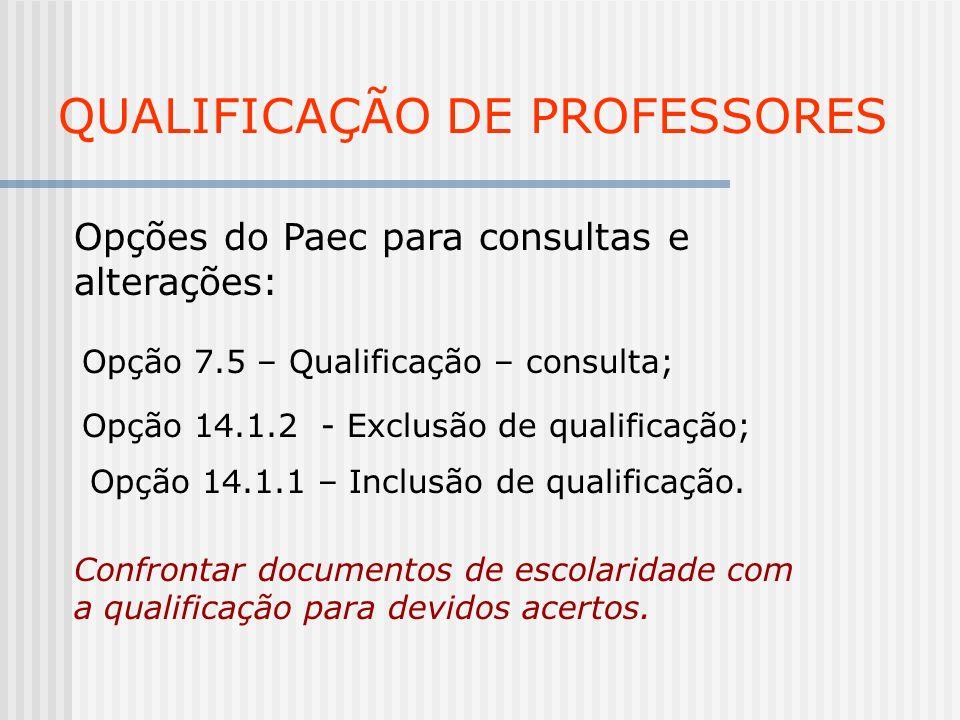QUALIFICAÇÃO DE PROFESSORES Opções do Paec para consultas e alterações: Opção 7.5 – Qualificação – consulta; Opção 14.1.2 - Exclusão de qualificação;