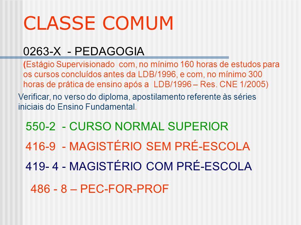 CLASSE COMUM 0263-X - PEDAGOGIA 416-9 - MAGISTÉRIO SEM PRÉ-ESCOLA 419- 4 - MAGISTÉRIO COM PRÉ-ESCOLA 550-2 - CURSO NORMAL SUPERIOR 486 - 8 – PEC-FOR-P