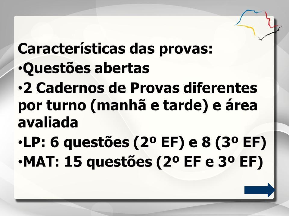 Características das provas: Questões abertas 2 Cadernos de Provas diferentes por turno (manhã e tarde) e área avaliada LP: 6 questões (2º EF) e 8 (3º