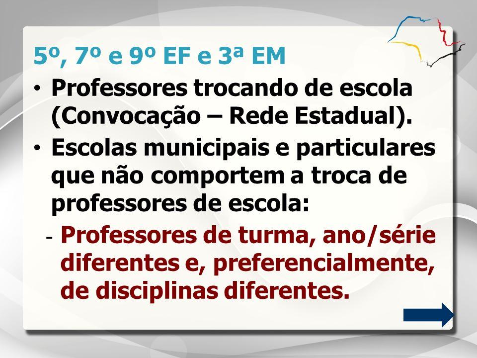 5º, 7º e 9º EF e 3ª EM Professores trocando de escola (Convocação – Rede Estadual). Escolas municipais e particulares que não comportem a troca de pro