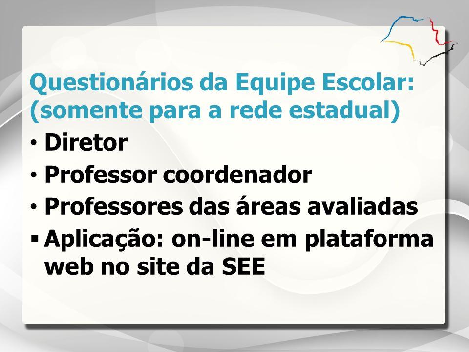 Questionários da Equipe Escolar: (somente para a rede estadual) Diretor Professor coordenador Professores das áreas avaliadas Aplicação: on-line em pl