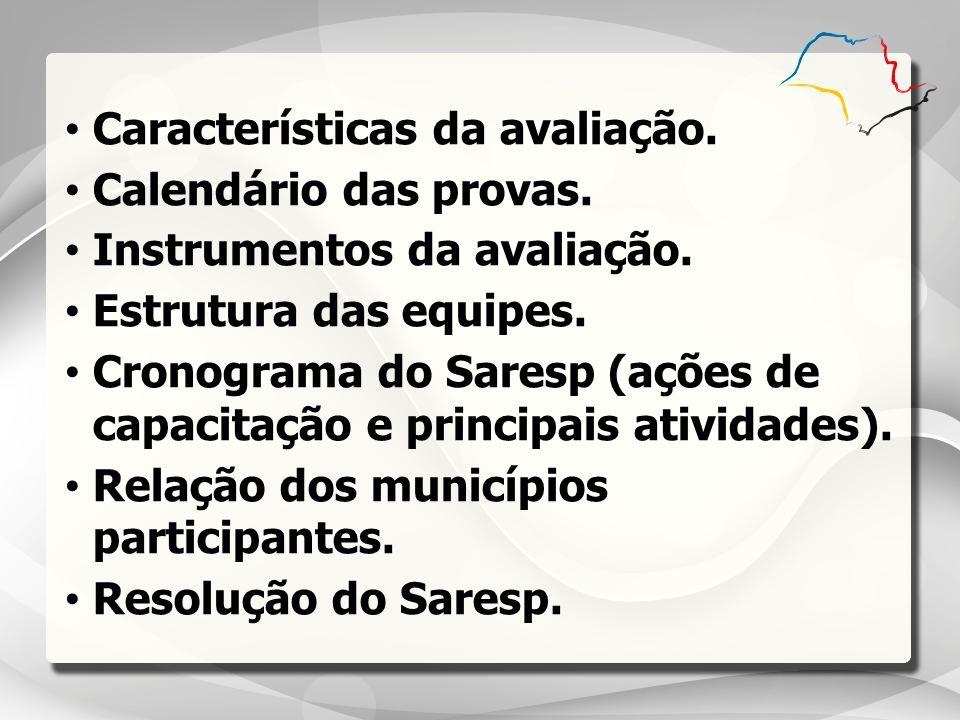 Características da avaliação. Calendário das provas. Instrumentos da avaliação. Estrutura das equipes. Cronograma do Saresp (ações de capacitação e pr