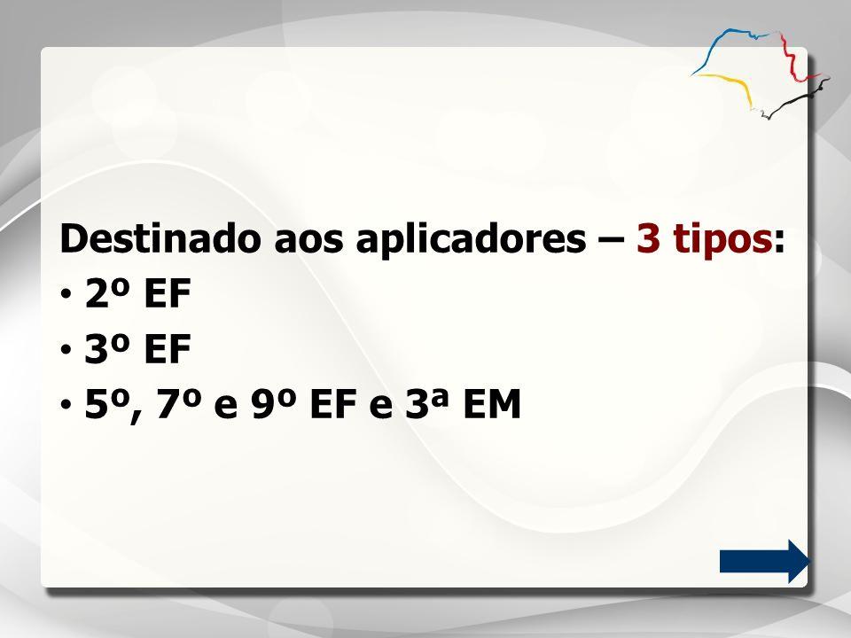 Destinado aos aplicadores – 3 tipos: 2º EF 3º EF 5º, 7º e 9º EF e 3ª EM