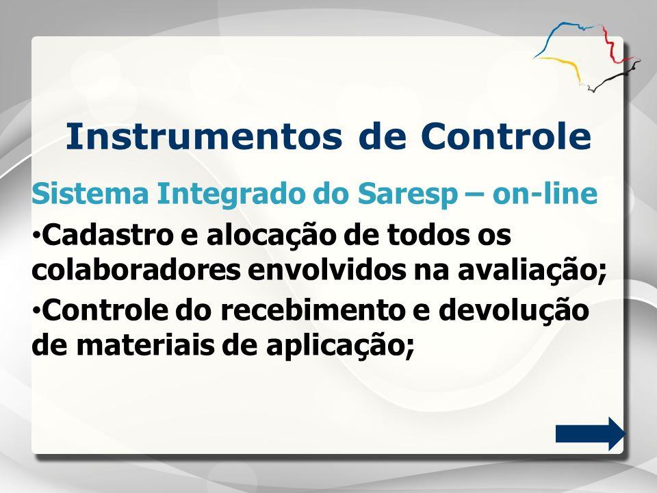Sistema Integrado do Saresp – on-line Cadastro e alocação de todos os colaboradores envolvidos na avaliação; Controle do recebimento e devolução de ma
