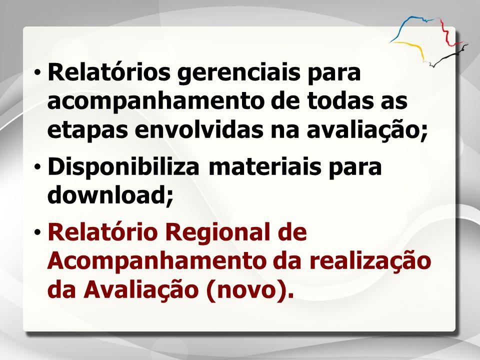 Relatórios gerenciais para acompanhamento de todas as etapas envolvidas na avaliação; Disponibiliza materiais para download; Relatório Regional de Aco