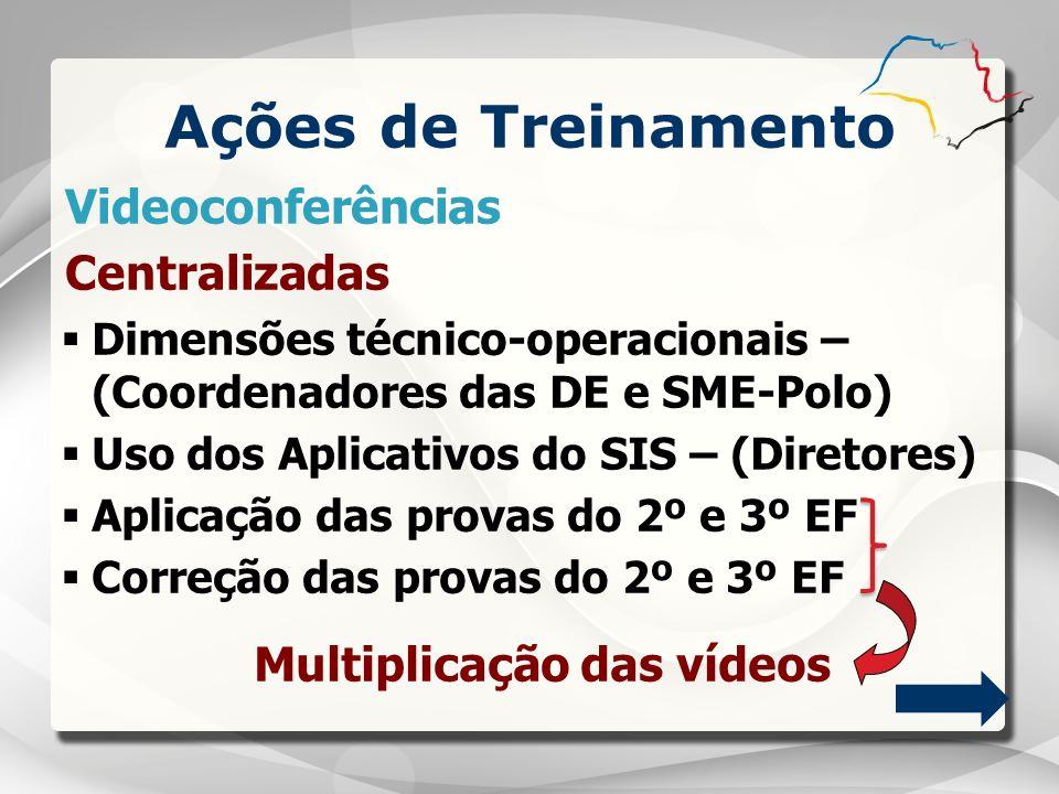 Ações de Treinamento Dimensões técnico-operacionais – (Coordenadores das DE e SME-Polo) Uso dos Aplicativos do SIS – (Diretores) Aplicação das provas