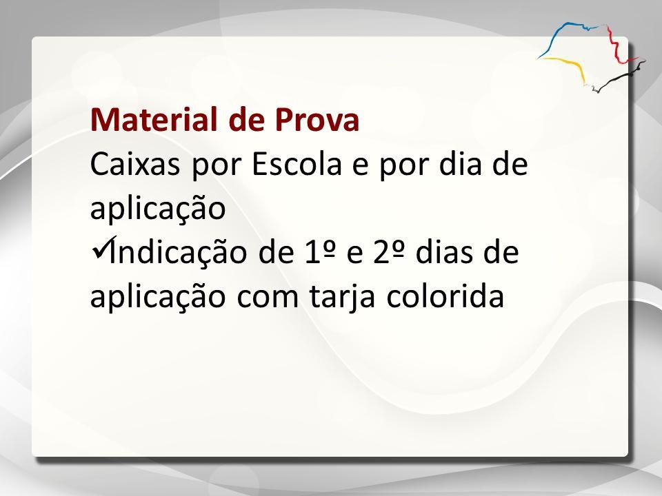 Material de Prova Caixas por Escola e por dia de aplicação Indicação de 1º e 2º dias de aplicação com tarja colorida
