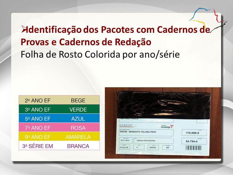 Identificação dos Pacotes com Cadernos de Provas e Cadernos de Redação Folha de Rosto Colorida por ano/série