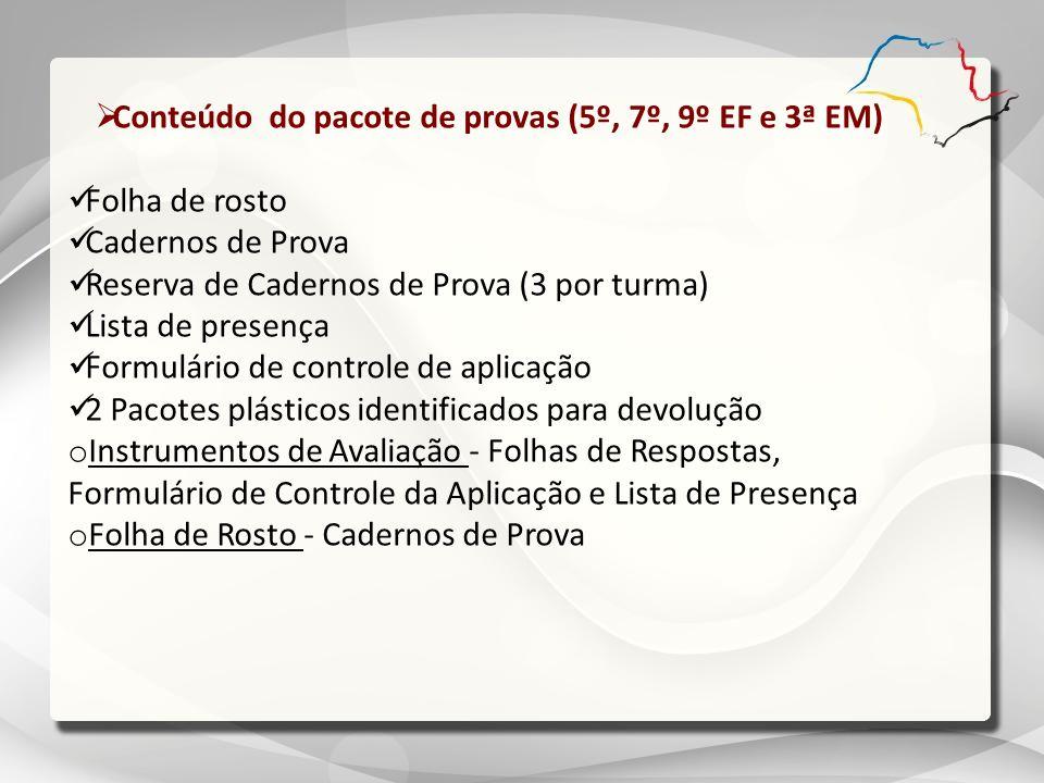 Conteúdo do pacote de provas (5º, 7º, 9º EF e 3ª EM) Folha de rosto Cadernos de Prova Reserva de Cadernos de Prova (3 por turma) Lista de presença For