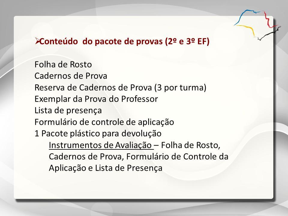 Conteúdo do pacote de provas (2º e 3º EF) Folha de Rosto Cadernos de Prova Reserva de Cadernos de Prova (3 por turma) Exemplar da Prova do Professor L